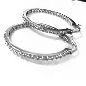 Sterling silver and CZ oval hoops